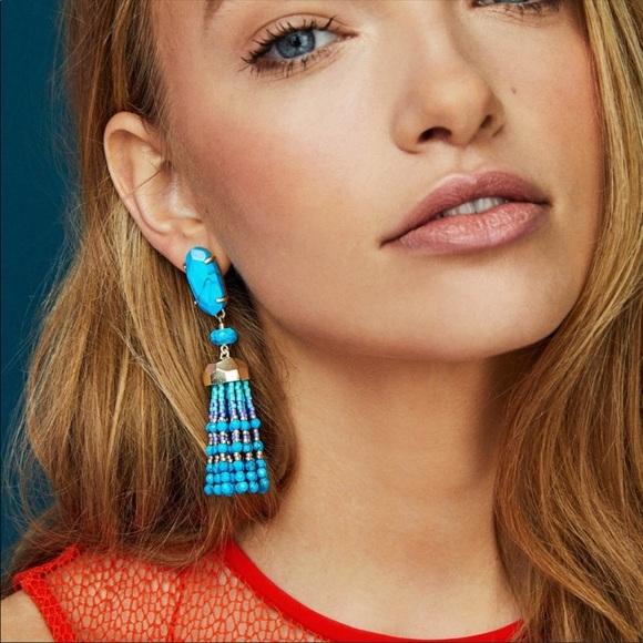 Kendra Scott Dove Aqua Howlite Tassel Earrings